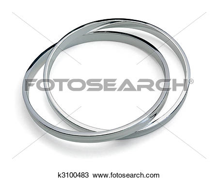 Stock Photo of Solid sterling silver bangle isolated on white.