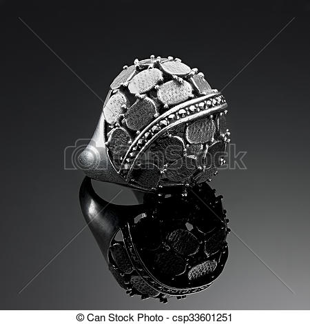 Stock Images of Ring antique solid silver plates and marcasite.