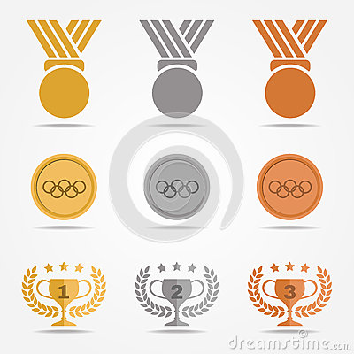 Gold Silver Bronze Medal And Trophies Olive Wreath (solid Color.