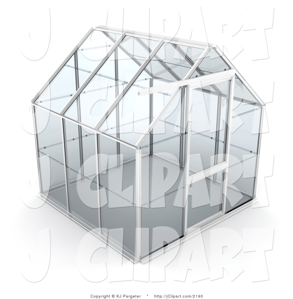 Clip Art of an Empty Glass Greenhouse with a Silver Frame on a.
