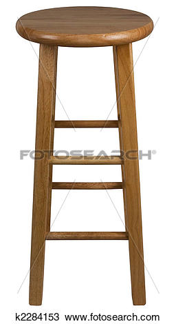 Stock Photo of Solid Wood Bar Stool k2284153.