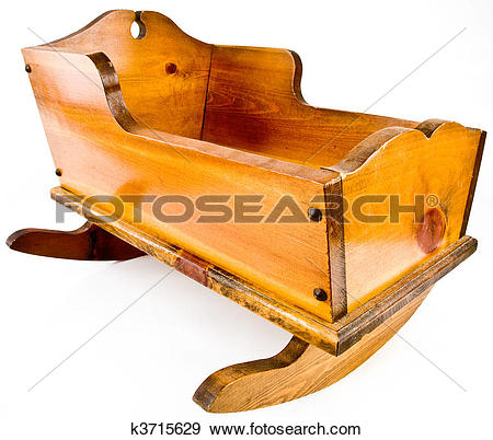Stock Photograph of Solid Wood Rocking Cradle Crib k3715629.