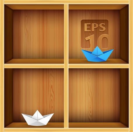 Solid Wood Bookshelves Vector 2, free vectors.