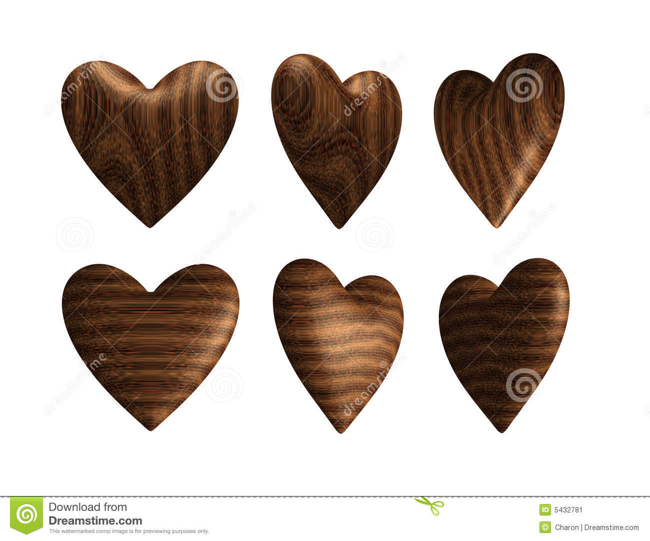 Wooden Heart Solid Wood Isolated Stock Image.