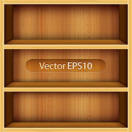 Solid Wood Bookshelves Vector 1, free vectors.