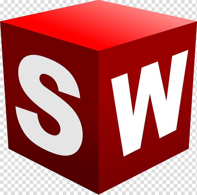 Red and white SW cube illustration, SolidWorks Logo Computer.