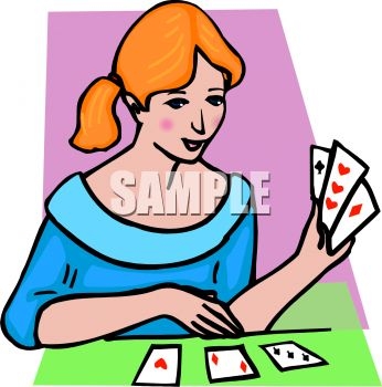 Woman Playing Solitaire.