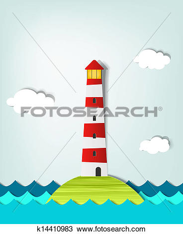Clipart of solitary island lighthouse k14410983.
