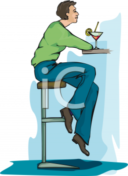 Royalty Free Clipart Image: Guy Sitting at a Bar Drinking a Martini.
