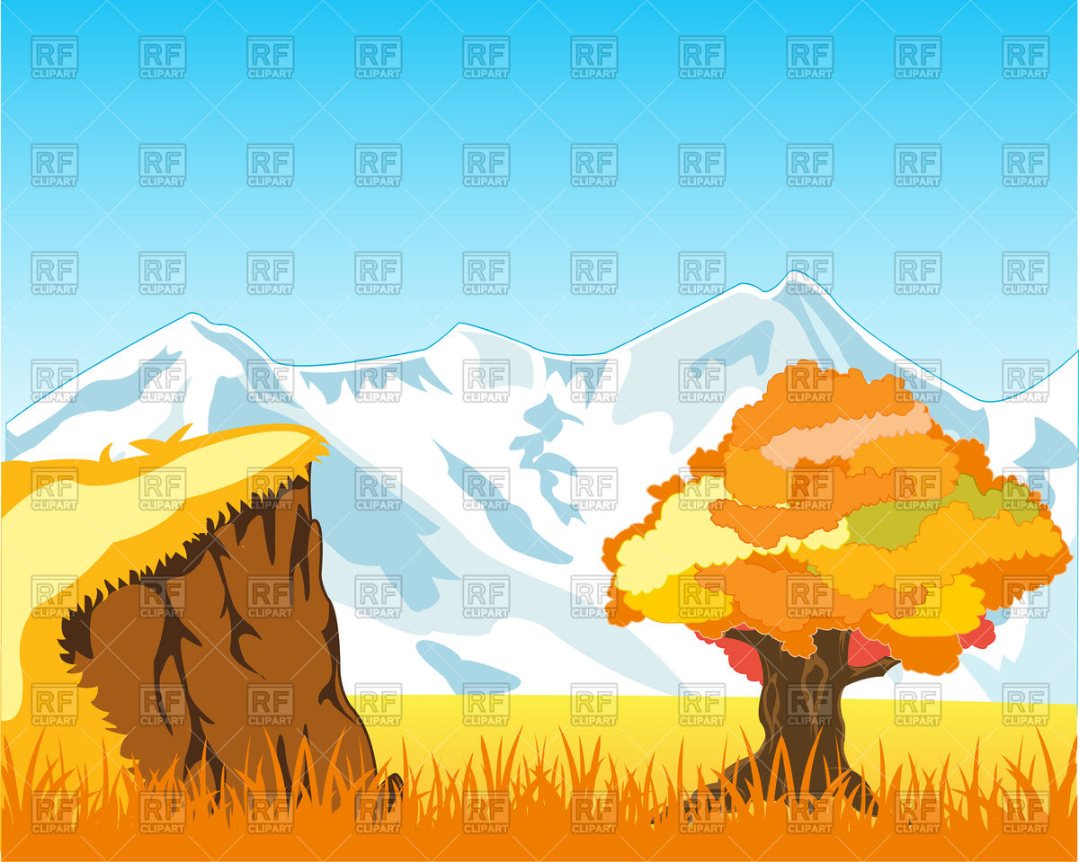 Autumn landscape with mountain and solitary tree Vector Image.
