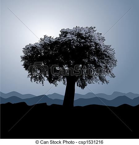 Clip Art Vector of A solitary tree stands in a winter background.
