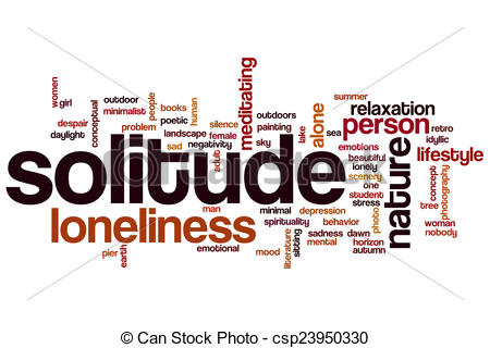 Drawings of Solitude word cloud concept with alone relaxation.