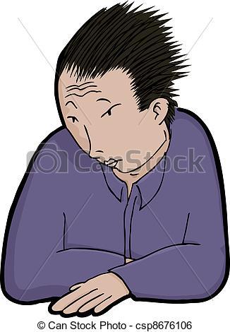 Clip Art Vector of Asian Man in Solitude.