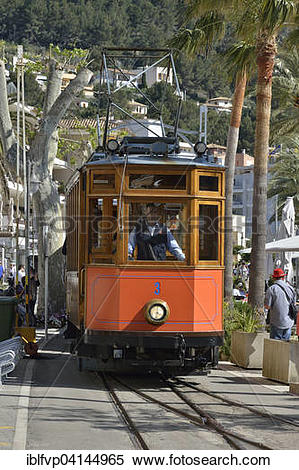 Stock Image of Historic tramway in Puerto de Soller, Majorca.