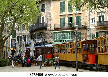 Stock Images of Tram, Puerto de Soller, Mallorca, Spain, Europe.