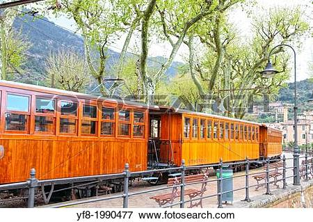 Picture of Classic wood tram train from Palma to Soller in Majorca.