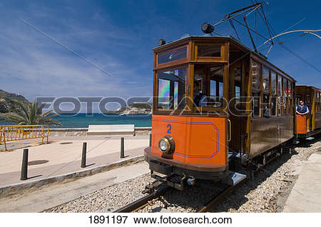 Picture of Old Tram Running Between Soller And Puerto De Soller.
