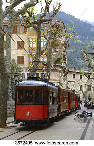 Stock Image of Tram, Puerto de Soller, Mallorca, Spain, Europe.