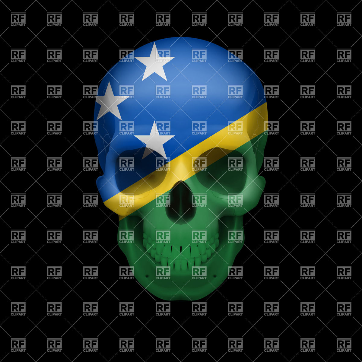 Human skull with flag of Solomon Islands Vector Image #35151.