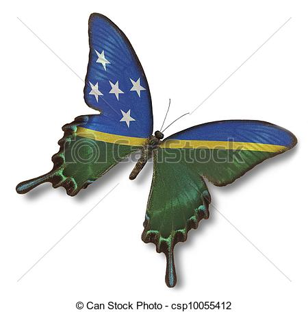 Clipart of Solomon Islands flag on butterfly isolated on white.