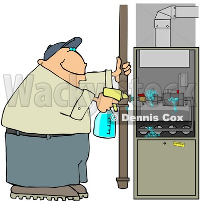 Spraying a Cleaning Solvent On a Standard Household Furnace.