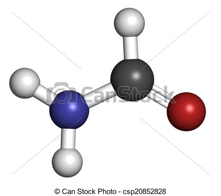 Clip Art of Formamide (methanamide) solvent molecule. Atoms are.