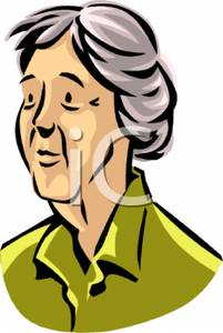 Colorful Cartoon of a Somber Elderly Woman.