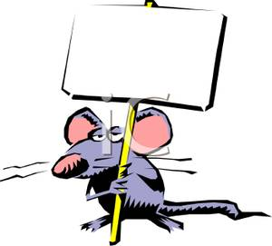 of a Somber Mouse Holding a Blank Sign.