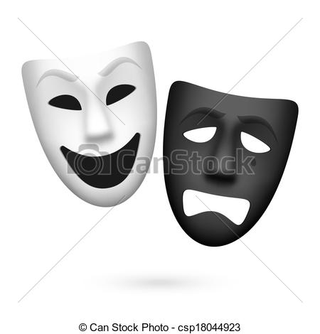 Vector Clip Art of Comedy and tragedy masks.