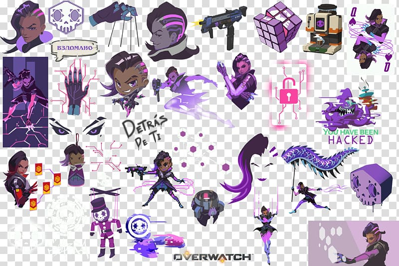 Overwatch Sombra D.Va Graffiti Mercy, graffiti transparent.