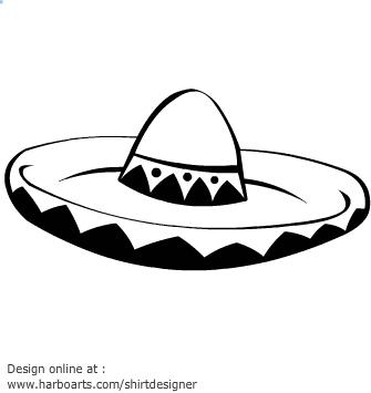sombrero clipart black and white #2