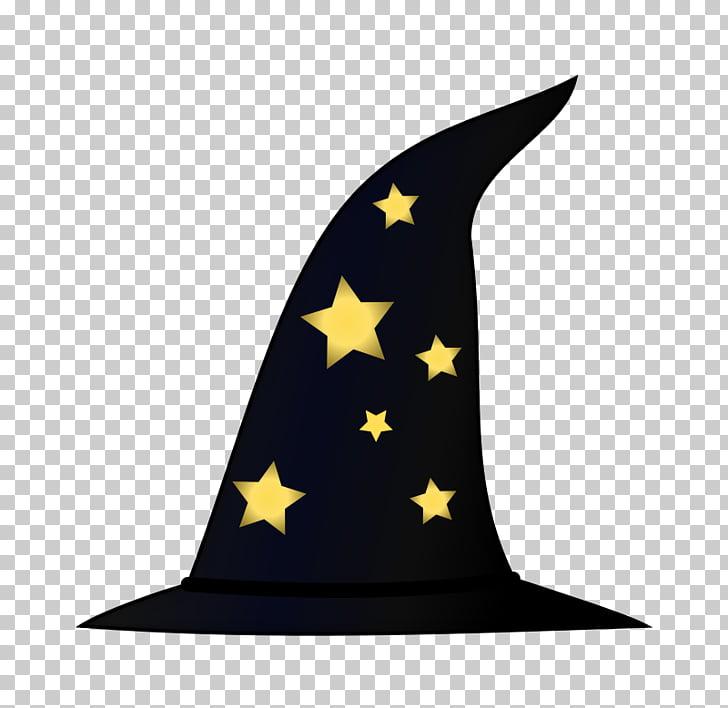 Sombrero de mago, bruja en una escoba PNG Clipart.