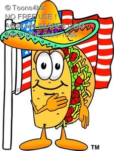 Toons4Biz Cartoon Taco Character With American Flag.