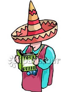 Man on a Mexican Vacation, Wearing a Sombrero Clipart Picture.