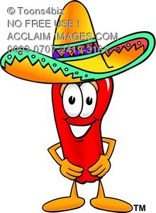 Toons4Biz Cartoon Chili Pepper Character Wearing a Mexican.