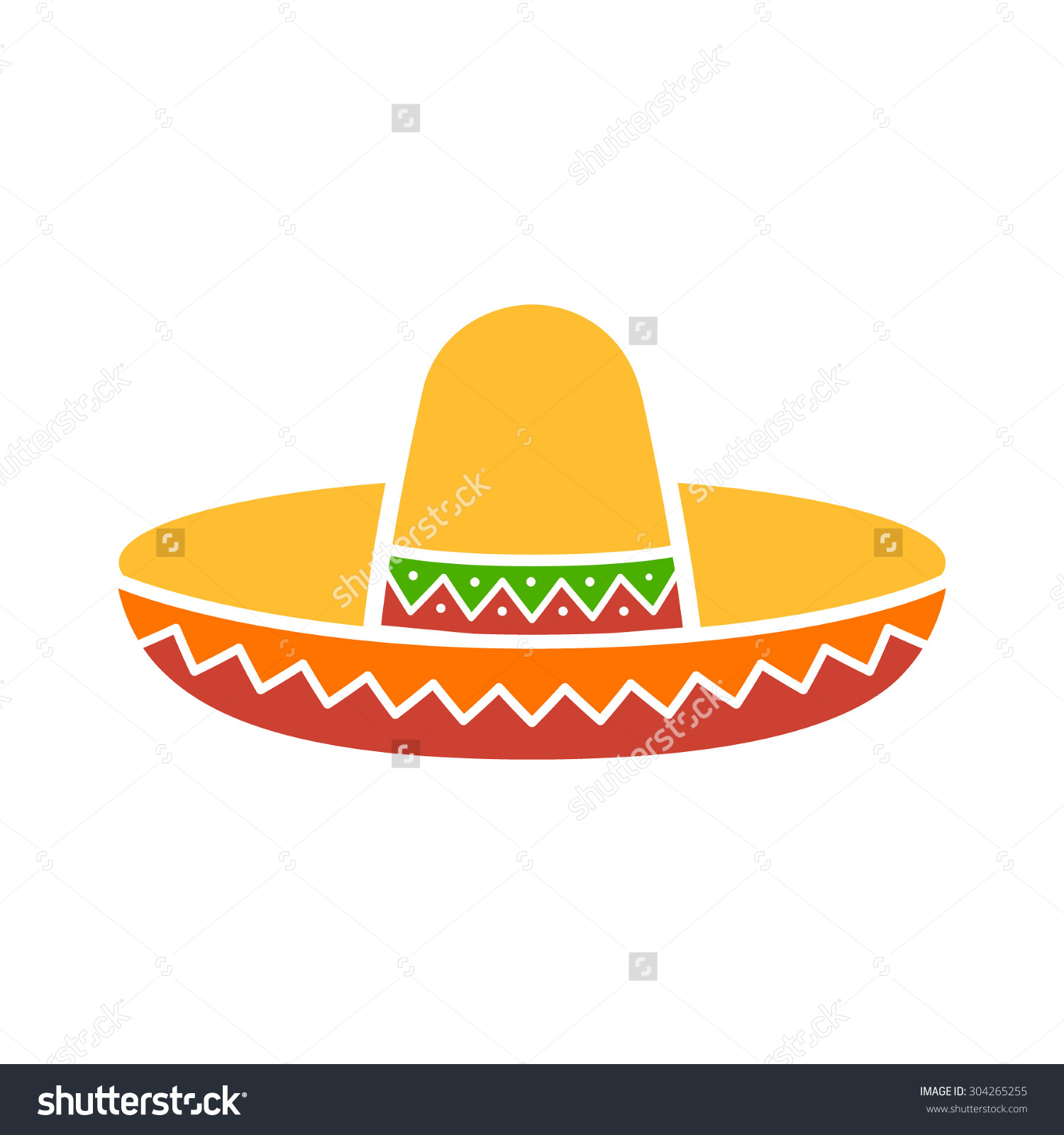 Sombrero Mexican Hat Colorful Flat Icon Stock Vector 304265255.