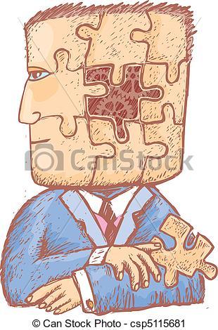 Vector Clip Art of Puzzle in my head.