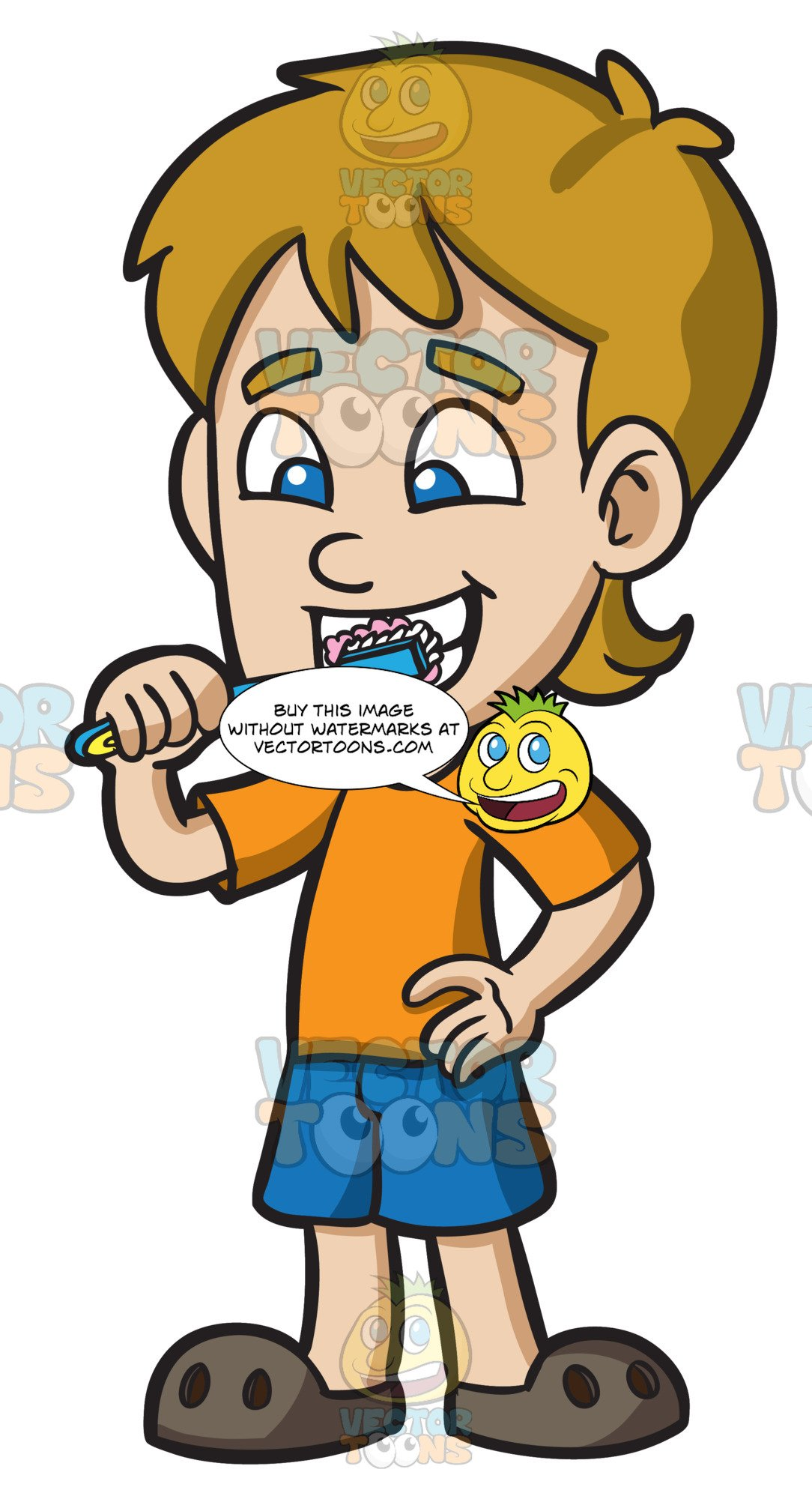 Cartoon Picture Of Someone Brushing Their Teeth.