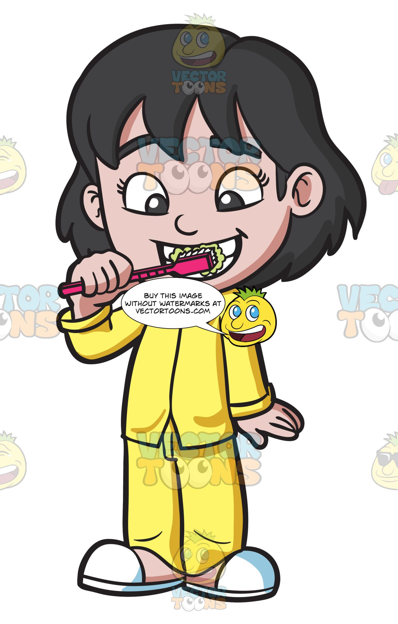 Cartoon Picture Of Someone Brushing Teeth.