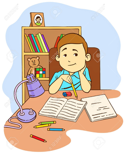 Kid Doing Homework Clipart.