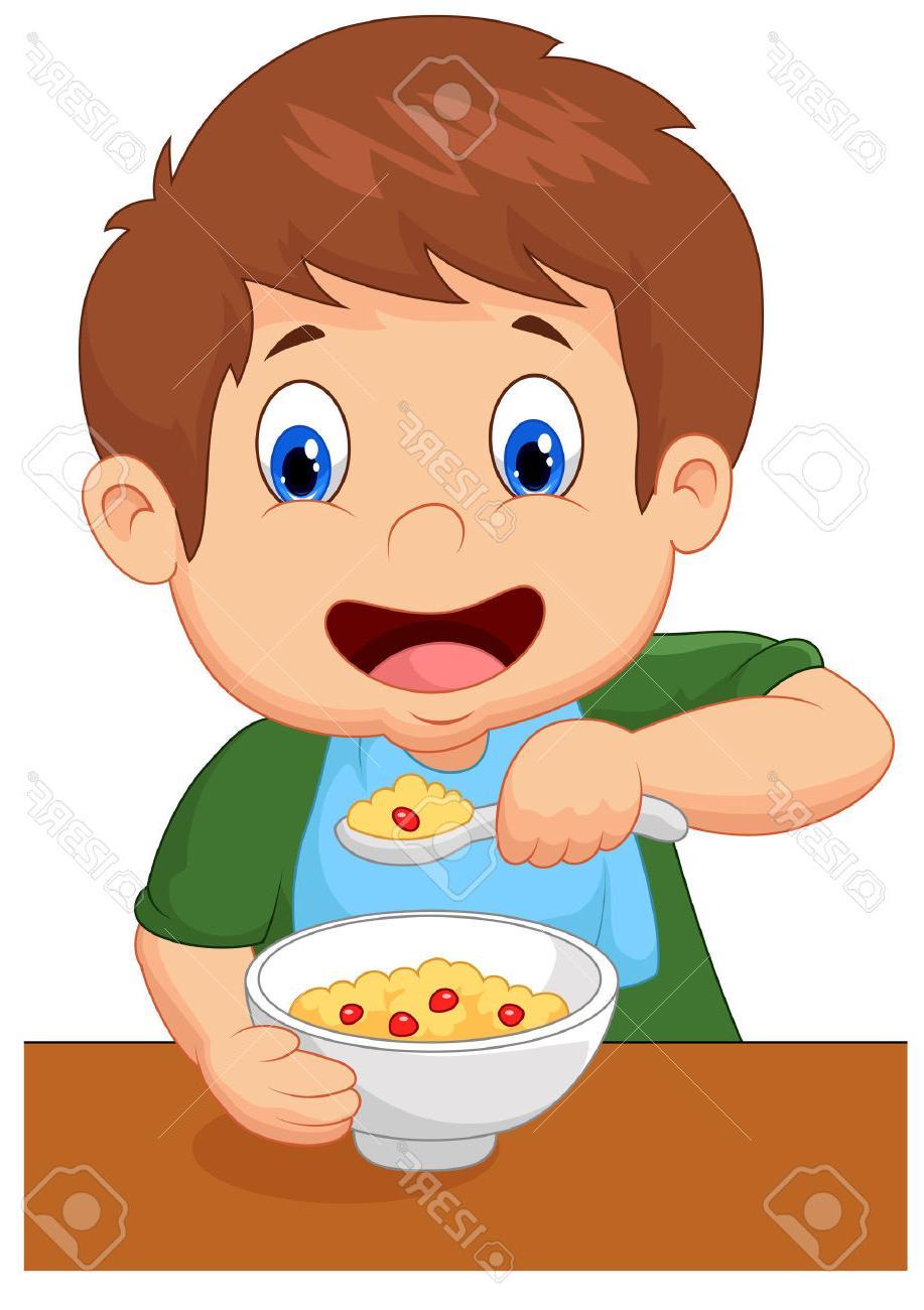 Boy Eating Breakfast Clipart.