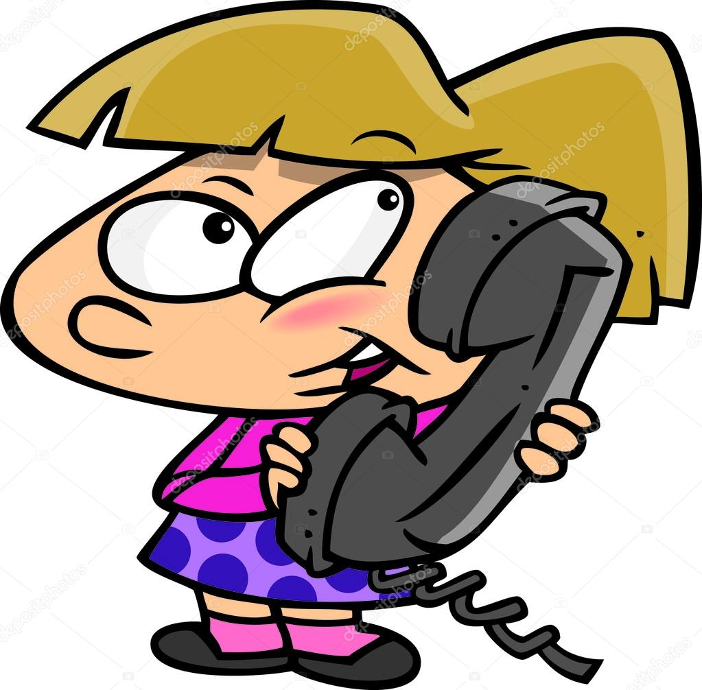 Cartoon Girl Talking on Phone — Stock Vector © ronleishman #13982791.