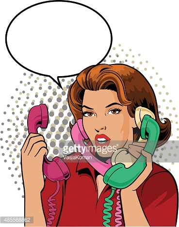 Happy Retro Couple Talking On The Phone Vector Art.
