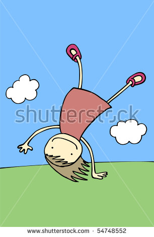 Happy Girl Performing Somersault. (Series). Vector Illustration.