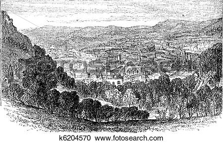 Clipart of The City of Bath, Somerset, England, vintage engraving.