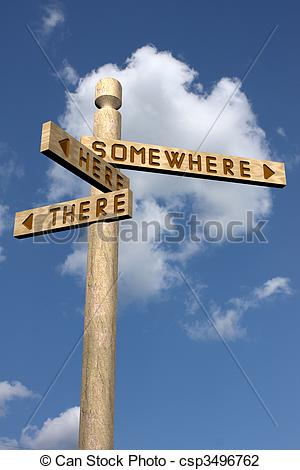 Clip Art of Wooden abstract signpost.