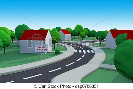 Clipart of housing estate 3.