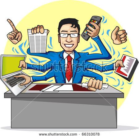 Very Busy Businessman Stock Vector 66310078.