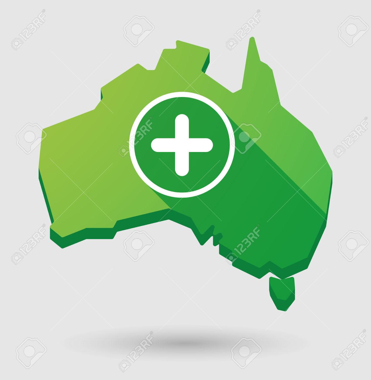 Illustrazione Di Una Mappa Australia Con Un Segno Somma Clipart.