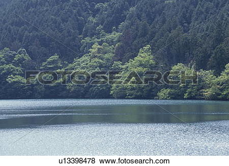 Pictures of Lake in forest. Aso Somma, Aso, Kumamoto Prefecture.